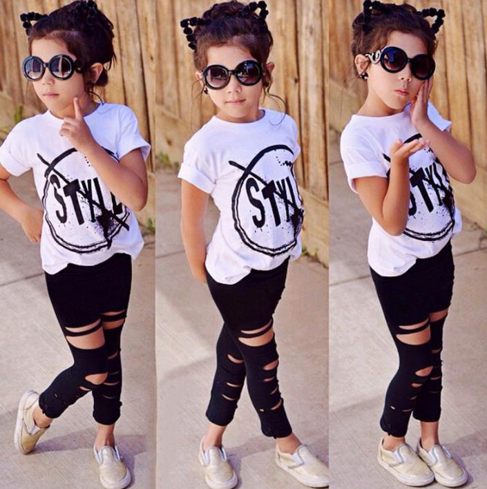 2018 Kids Girls Clothes Set Baby Girl Summer Short Sleeve Print T-Shirt + Hole Pant Leggings 2PCS Outfit Children Clothing Set hot 0 4y toddler baby boy girl clothes long sleeve hooded t shirt tops and striped pant 2pcs outfit kids clothing set tracksuit