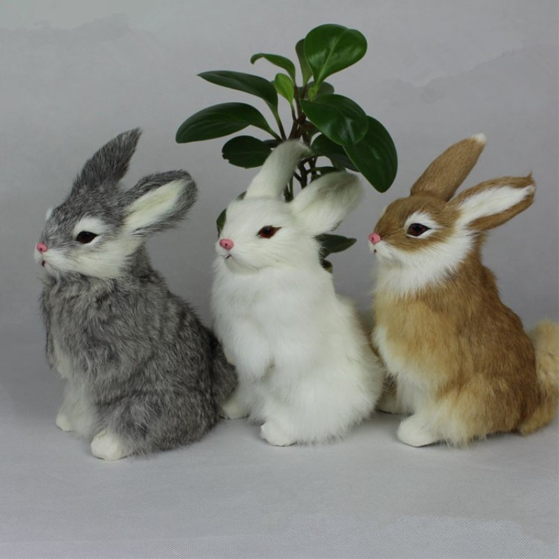 new 3 Kinds Cute Animal Easter Bunny Simulation Furry Squatting Rabbit Christmas Day Birthday Gift Home Wedding Decoration toys simulation animal large about 40cm x 43cm rabbit model lifelike squatting white rabbit toy decoration gift t493