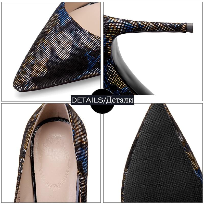 Bout Noir Isnom De Femmes Peu Imprimer Véritable 2019 Mode Pompes bleu Chaussures Haute Pointu Printemps Profonde En Femme Cuir Talons UqUr8wP