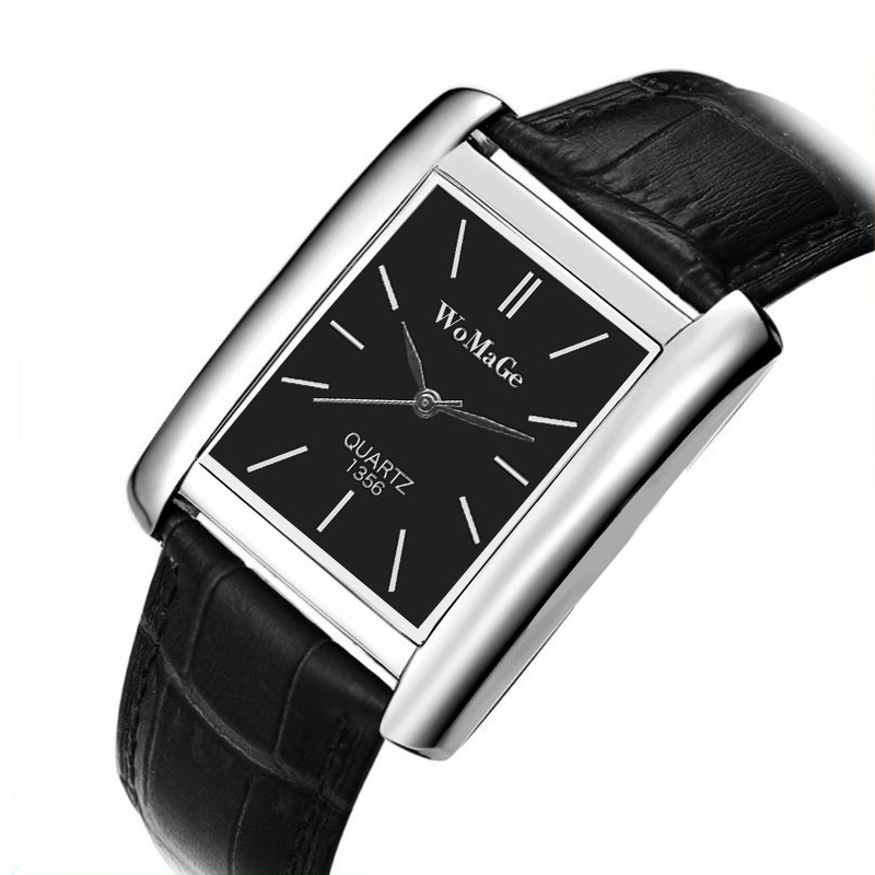 2019 New Men Watch Square Relogio Masculino Silver Rose Gold  Wristwatch Luxury Brand Leather Band Quartz Clock Erkek Kol Saati