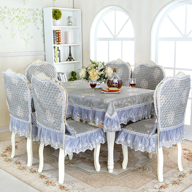 Free Shipping Top Grade European Jacquard Floral Damask Dining Chair  Cover+Linen Lace Cushion Home
