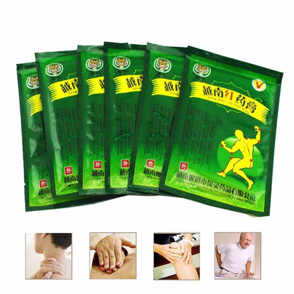 OPHAX 32pcs 4bags Red tiger balm Chinese medical plasters for rheumatoid arthritis back joint pain relieving