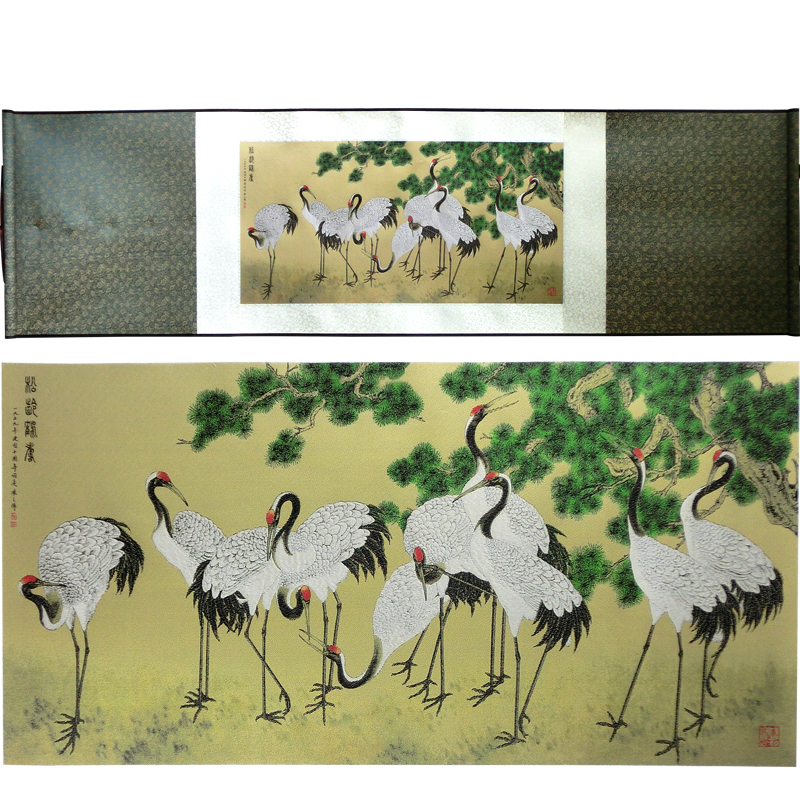Tangfoo Silk Scroll Painting Promotion Pine Crane Figure Home Decoration Famous Calligraphy Traditional Chinese Art Picture Gift in Painting Calligraphy from Home Garden