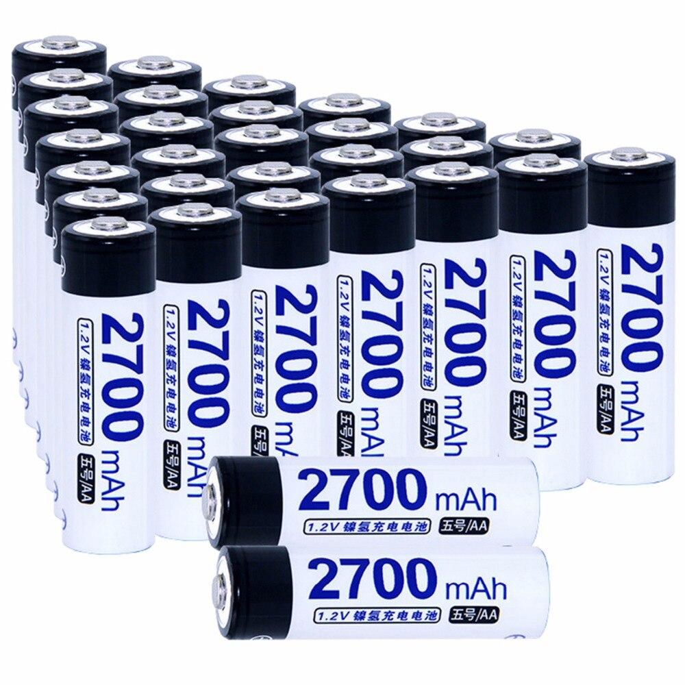 True capacity! 30 pcs AA 1.2V NIMH AA rechargeable batteries 2700mah for camera razor toy remote control flashlight 2A batterie