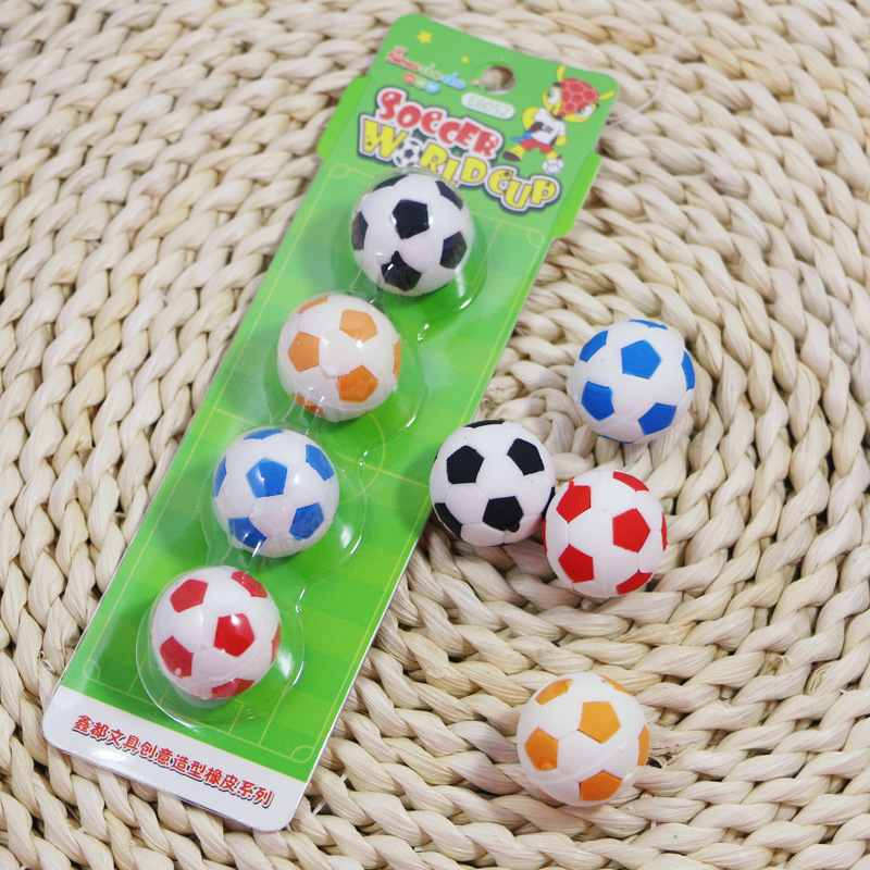 4pcs / Lot Student Creative Stationery Simulation Football Rubber Student Rubber Children Stationery Baby Football Eraser