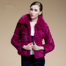 2016 Spring Autumn Women s Natural Real Rabbit Fur Jackets Fox Fur Collar Lady Short Outerwear
