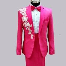 Plus Size Men Fashion Casual Slim Embroidered Rhinesotne Suits Set Male Singer DJ Stage Performance Prom Host Wedding Blazer
