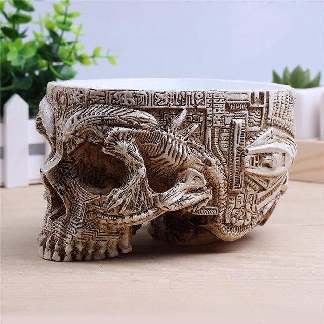 P-Flame White Antique Sculpture Human Skull Planter Garden Storage Pots Container Macetas Decoration Flower Pot For Home Decor 1