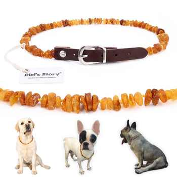 Baltic Amber Flea and Tick Collar with Adjustable Leather Strap for Dogs and Cats - Lab Tested - DISCOUNT ITEM  39% OFF All Category