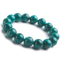 14mm Genuine Jewelry Bracelet Men Green Natural Malachite Chrysocolla Crystal Gems Round Beads Stretch Stone Bracelets