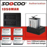 SOOCOO Battery 1350MAH and Battery Charger Compatible For SJ4000 SJ5000 M10 EKEN H9 H9R H8 H8R C30 C30R Series Cameras