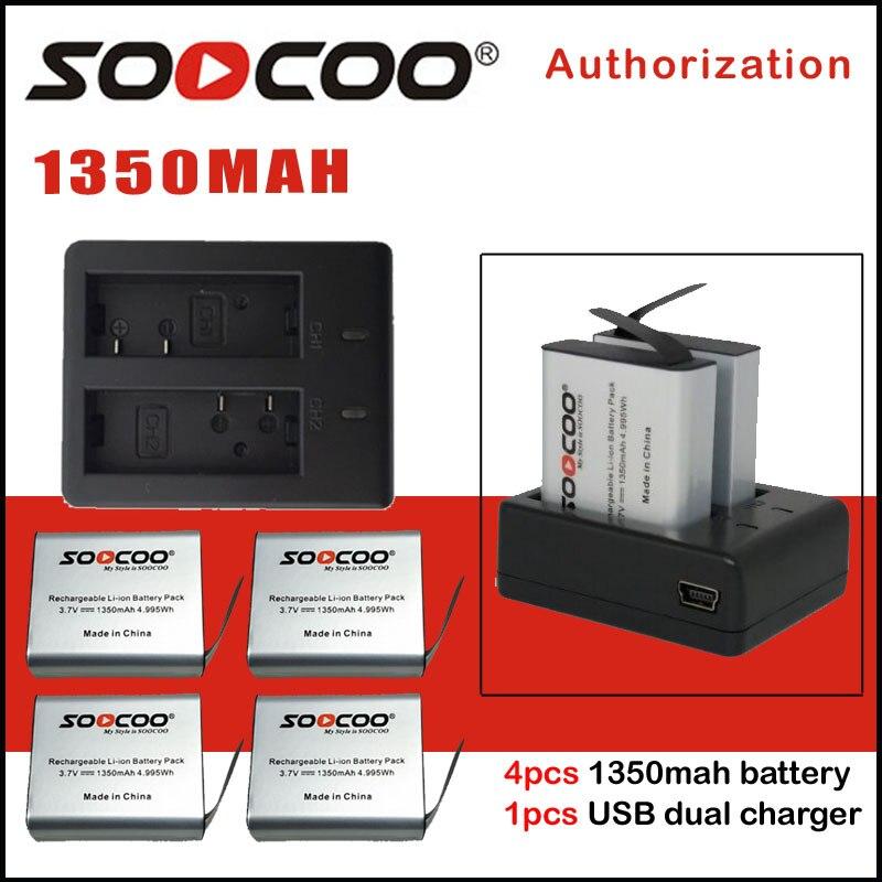 SOOCOO Batterie 1350 mah et Chargeur de Batterie Compatible Pour SJ4000 SJ5000 M10 EKEN H9 H9R H8 H8R C30 C30R Série caméras