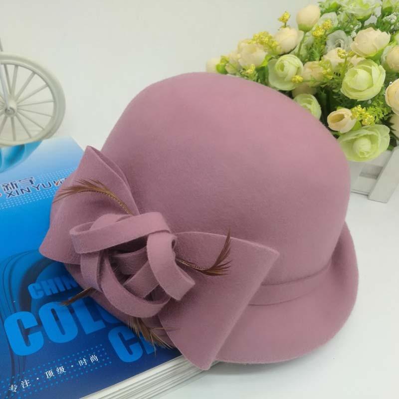 f100d479a1b7b ... QDKPOTC 2018 New Autumn Winter Trilby Hat Female Fedoras Wool Felt Dome  Floral Bowler Women Fedora ...