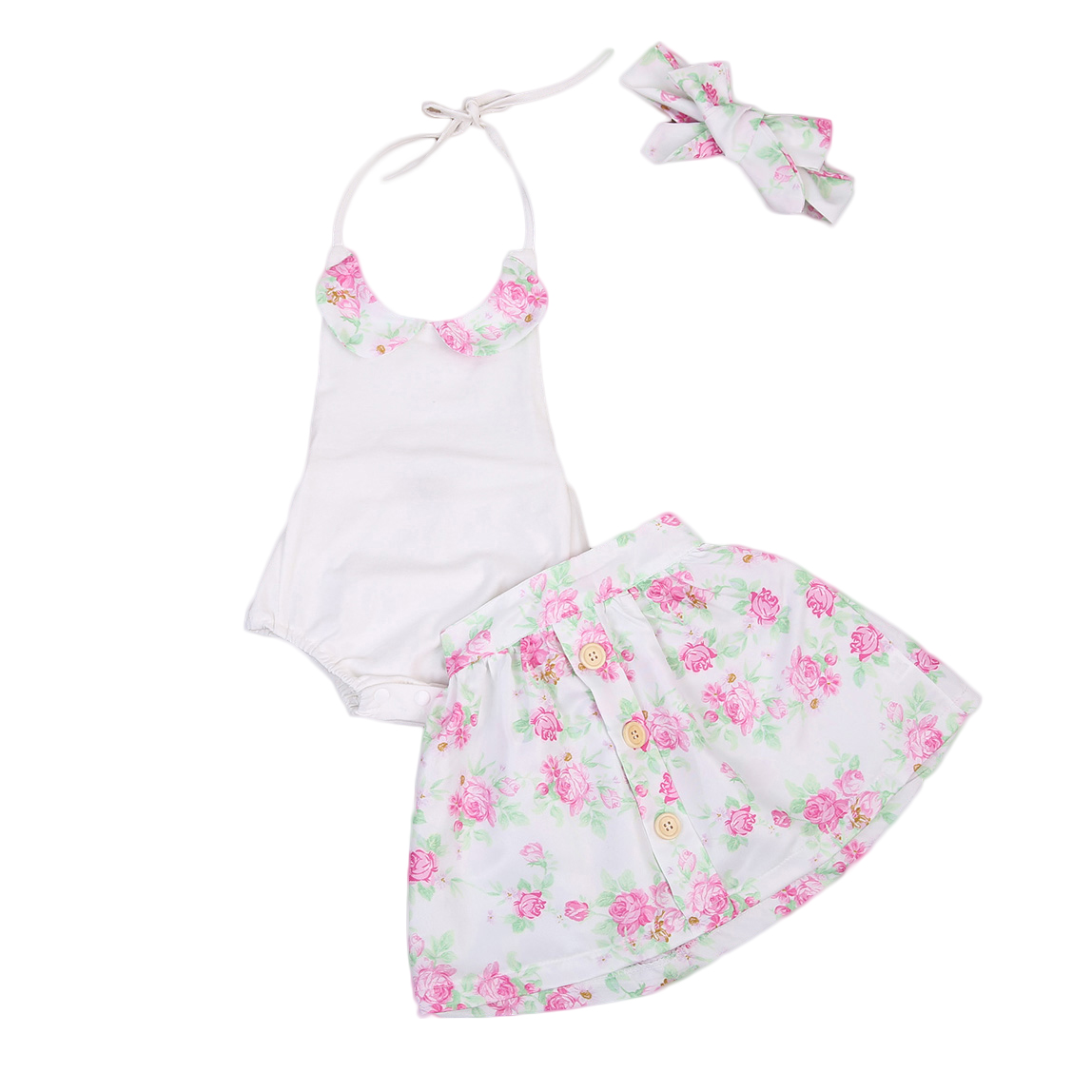 2018 new summer cute babies clothes Flower print Baby Girls Outfits set Infant halter bodysuit Top Skirt Outfit 3PCS Clothes Set