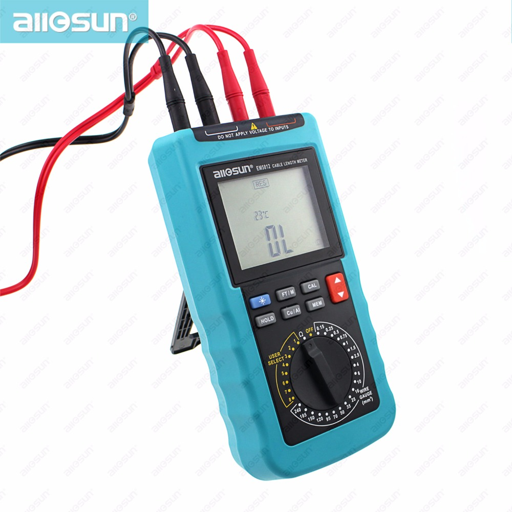 Modern Digital Cable Length Meter 4 1/2 Digit Display Automatic Temperature Compensation 20 Pre-Set Wire Gauge ALL SUN EM5812