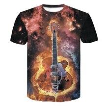 цены на Brand New Men Casual Lycra fire Black T-shirt Rock Guitar Print Summer Male shirt man tshirt men's t-shirts in large sizes xxxxl  в интернет-магазинах