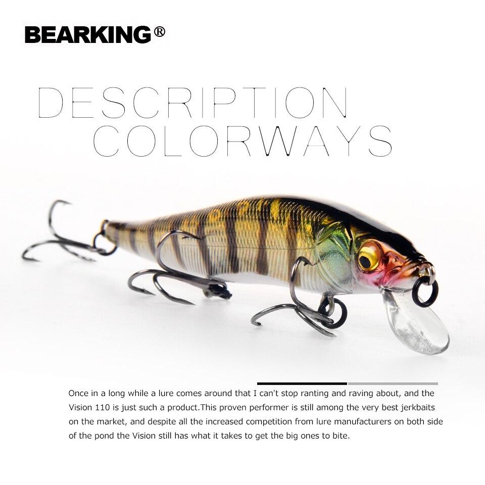 Bearking 11 cm 14g peso super sistema de tiempo de nuevo modelo de Señuelos de Pesca de cebo duro de calidad 2018 wobblers minnow