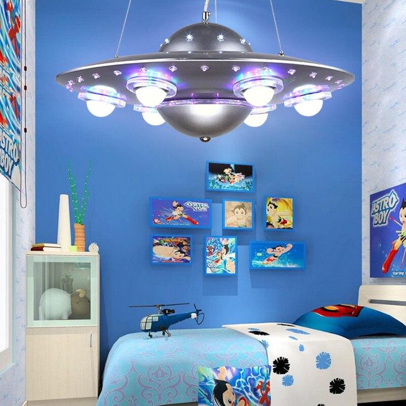 Control remoto colgante de OVNI luz plata azul niños niño dormitorio colgante Luz Jardín de Infantes accesorio escolar - 3