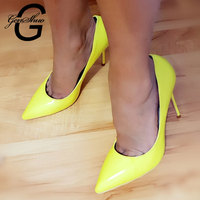 GENSHUO Women Shoes High Heels Neon Yellow Shoes Stiletto Pumps Sexy Pointed Toe Party Shoes 2019 Fashion Patent Leather Shoes