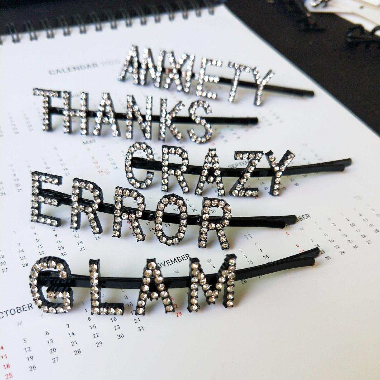 12 Arten Kristall Brief Traum Fabulous Glam Strass Bobby Pins Brief Haar Pin Bobby Pin Haar Clip FüR Schnellen Versand