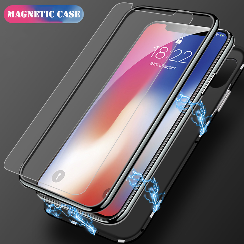 pretty nice b0d7e bed45 US $8.9 |Guties 360 Degree Magnetic Adsorption Phone Full Cover Case For  iPhone 5 5S SE 6 6S 7 8 Plus X 10 Tempered Glass Magnet Case Bag-in Fitted  ...