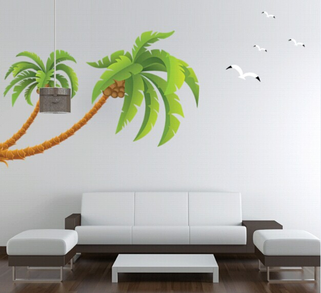 green coconut tree gulls vinyl wall stickers home decor rooms living sofa wallpaper design wall art - Home Design Wallpaper