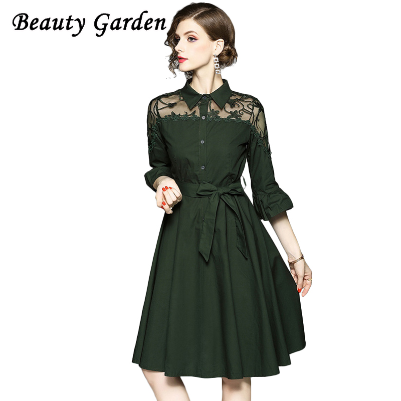 Beauty Fashion Group: Beauty Garden Fashion Solid Women Dress Half Flare Sleeve