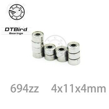 Радиальные шарикоподшипники 694zz 694 ZZ 694-2Z 4*11*4, Глубокие шаровые подшипники с металлическим корпусом, 4 мм, миниатюрный шаровой подшипник 4x11x4 мм, ABEC-5 10 шт.