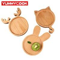 Деревянный олень Форма Кулинария для детей поднос мультфильм кролик блюда пластин Bento Box Посуда Кухня гаджеты аксессуары поставок