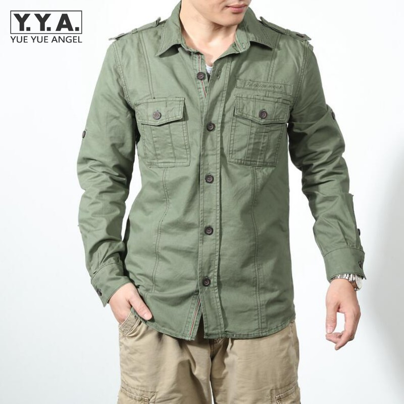 Casual slim fit men 39 s cotton khaki cargo shirts jean for Mens military style long sleeve shirts