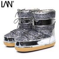 Złoto Srebro Bling Kobiety Snow Boots Zasznurować wewnątrz Ciepłe Kobiety Botki Buty Damskie Buty Casual Buty Bhp