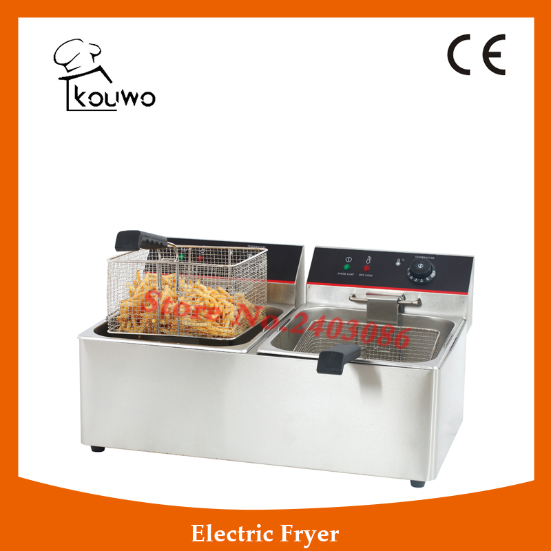 Stainless Steel table counter top food processing machine 11+11L electric double tank chicken potato chips deep Fryer for sale shipule fast food restaurant 30l commercial electric chicken deep fryer commercial potato chips deep fryer frying machine