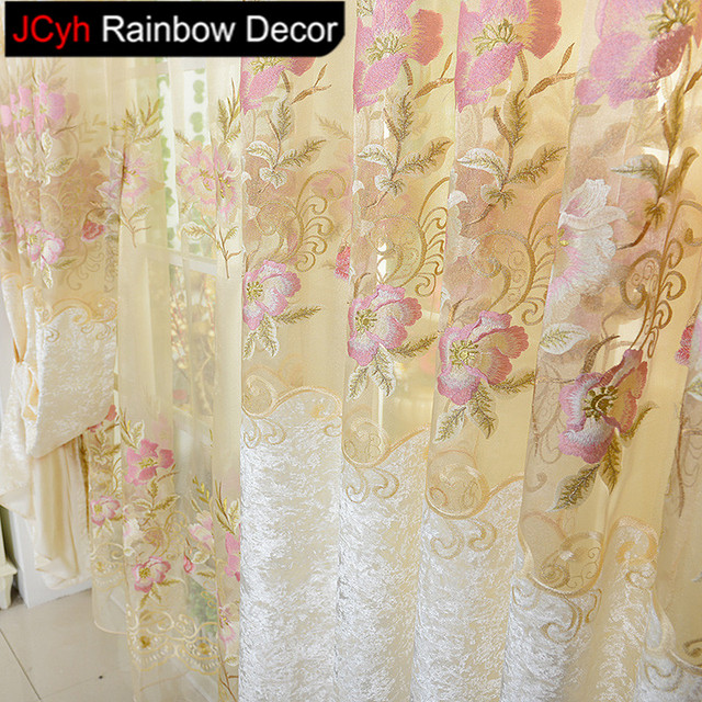 JRD Floral Tulle Blackout Curtain Sets For Living Room Bedroom Luxury Fine  Embroidery Peony Curtain Blinds