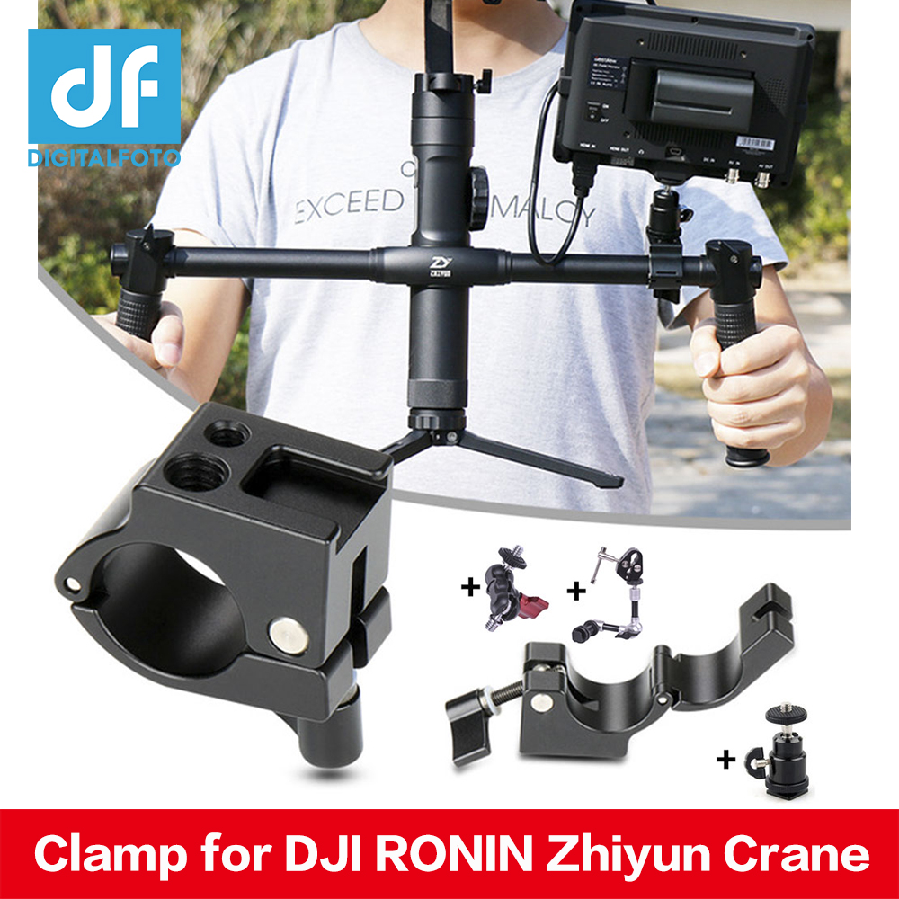Zhiyun Crane 2 22mm Dual Handle Clamp DJI Ronin Freefly 25mm Rod Mount+Cold Shoe 1/4 3/8 Screw hole for Monitor Microphone LED
