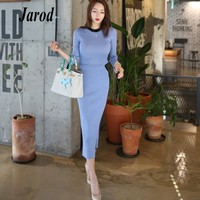 2 Piece Set Women Suit 2018 New Autumn Winter hit color Knit Sweaters Blouse Tops and high waist Long Skirts Crop Top and Skirt