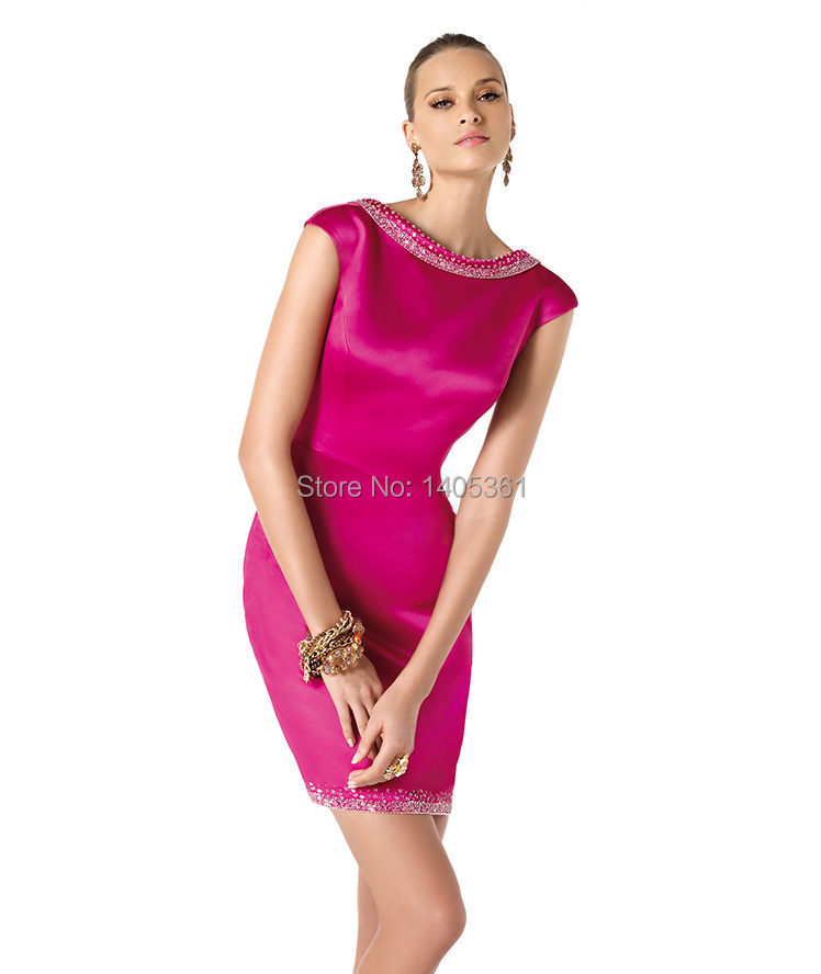 Free Shipping Beaded With Neckline Formal Cocktail Dress Hot Pink ...