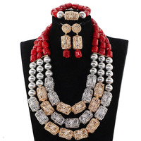 Vintage wine with gold silver collision african wedding jewelry sets coral beads african crystal nigerian beads set JB166