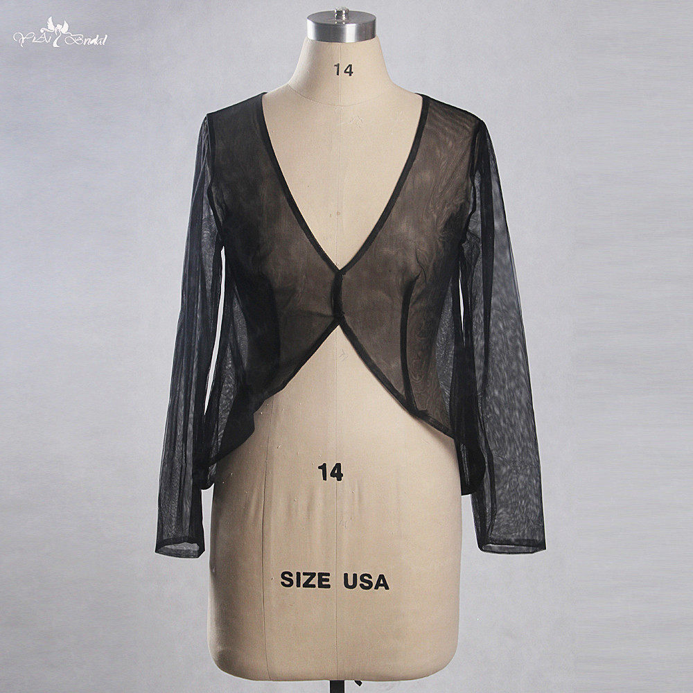 RSJ137 Real Pictures Yiaibridal Custom Made Sexy Cheap Long Sleeve V  Neckling Tulle Evening Jacket Women 05161a9a2