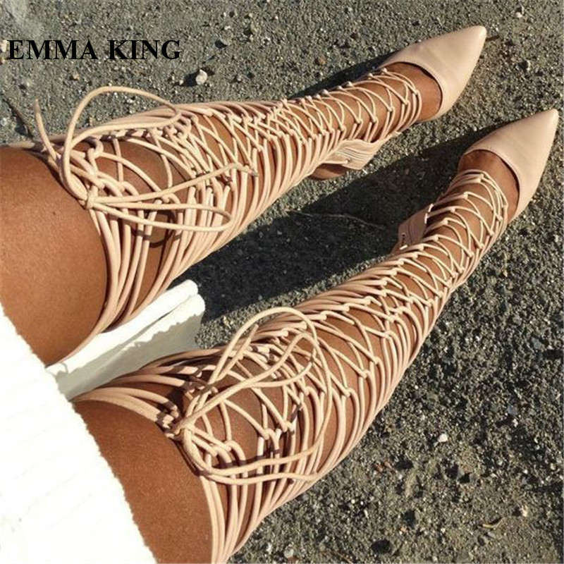 EMMA KING Fashion Beige Cross-tied Pointed Toe Shoes Women Lace Up Summer Sandals Boots Gladiator Girls Night Club Party BootsEMMA KING Fashion Beige Cross-tied Pointed Toe Shoes Women Lace Up Summer Sandals Boots Gladiator Girls Night Club Party Boots