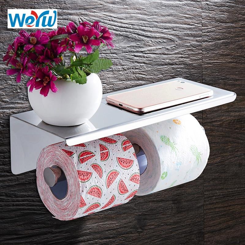WEYUU Toilet Paper Holders 304 Stainless steel Double Roll Rack Bathroom Shelves Bathroom Accessories Chrome Finish