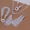 Precio de fábrica de calidad superior Plateado y Estampadas 925 cadenas Borla collar pulsera conjuntos de joyería fina pendiente de gota