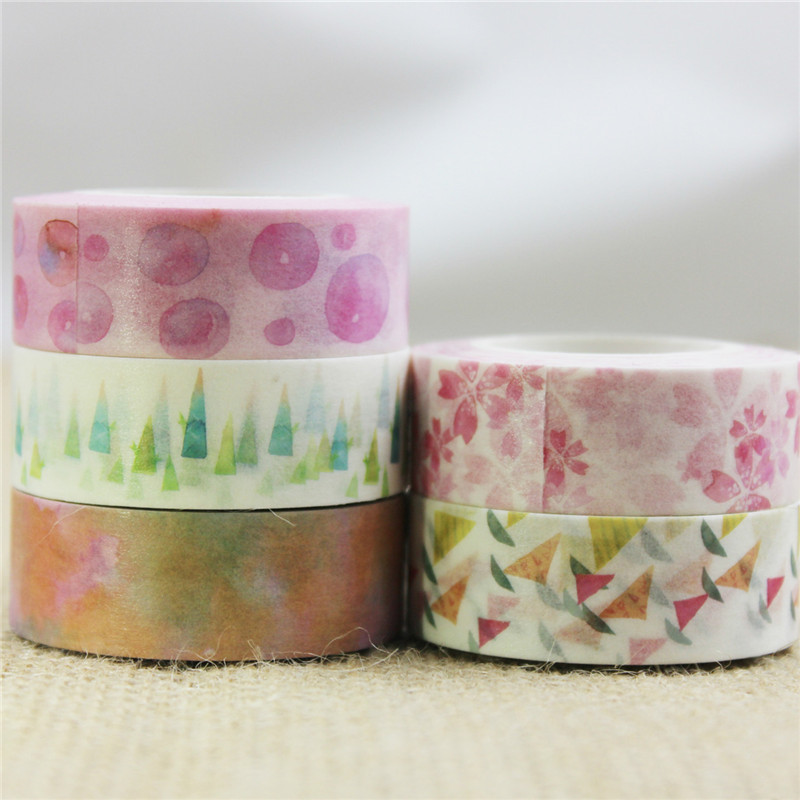 Ayron 1pcs 15mm*10m Bubble&Watercolor Painting Washi Tape Adhesive Craft Tape DIY Scrapbooking Sticker Masking Craft Tape