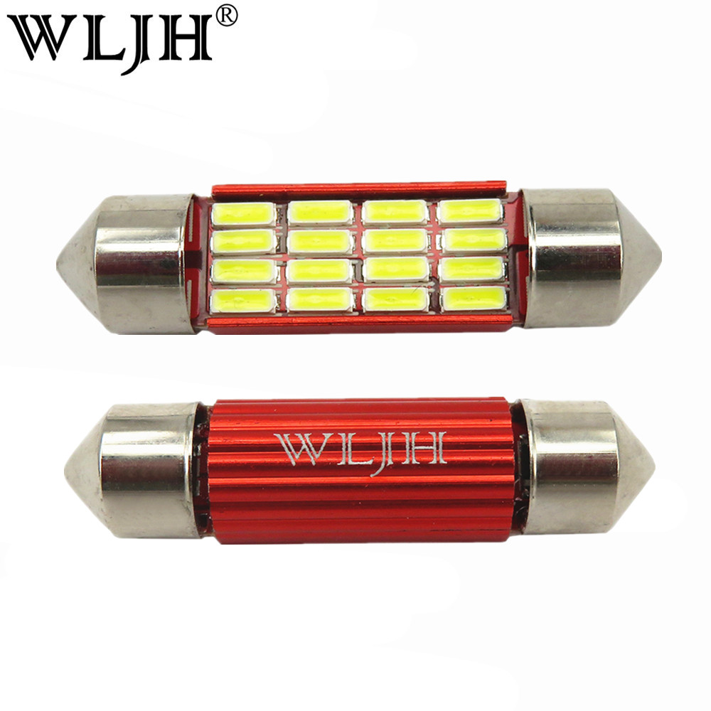 WLJH 2x Canbus LED Light Bulb C5W C10W 31mm 36mm 39mm 41mm SV8.5 4014SMD Auto Led Lampu Mobil Interior Dome Peta License Plate Cahaya