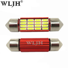 Wljh 2x CANBUS LED Ringan Bohlam C5W C10W 31 Mm 36 Mm 39 Mm 41 Mm SV8.5 4014SMD Otomatis LED lampu Mobil Interior Kubah Map License Piring Ringan(China)
