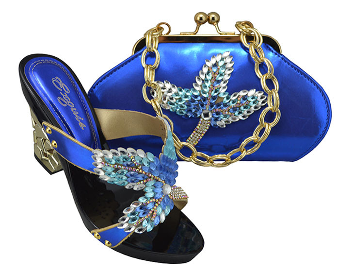 ФОТО 2017 Fashion Italian Shoes With Matching Bags Royal Blue Color African Shoe And Bag Set For Women Party In SL08 Size 38-42