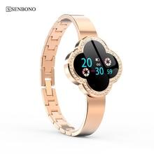 SENBONO ساعة ذكية النساء 2019 للماء معدل ضربات القلب رصد سيدة ساعة لالروبوت IOS سوار لياقة بدنية Smartwatch ل هدية