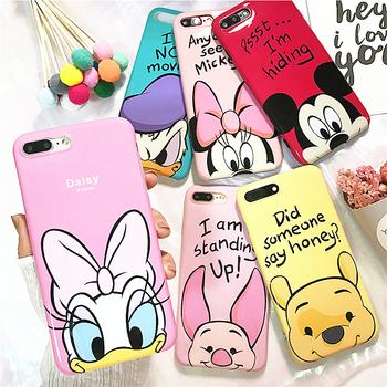 For iPhone X Glossy IMD Mickey Minnie Mouse Daisy Duck Winnie Pooh Piglet Soft TPU Cover Case For iPhone 6 6S 7 8 Plus winnie the pooh iphone case
