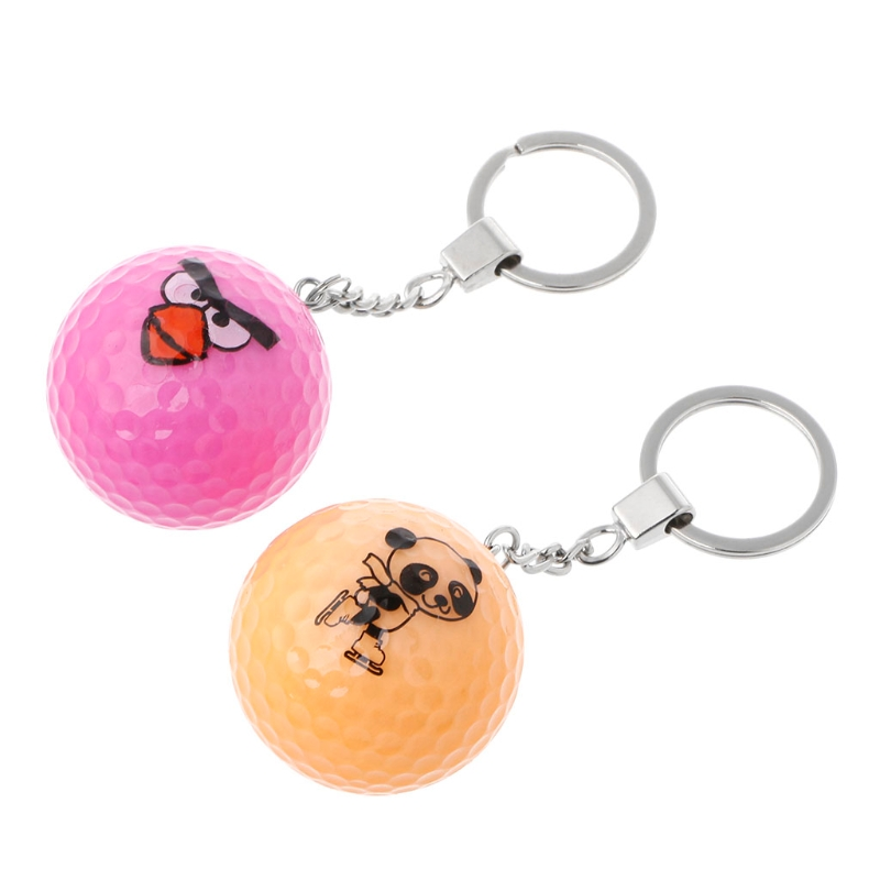 Key Chain Crystal Golf Ball Corlorful Key Ring Toy Sports Game Souvenir Gift #20/29W