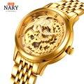Top Luxus Marke Nary Uhr Chinesischen Stil Phoenix Uhr Frauen Uhren Luxus Gold Edelstahl Automatische Mechanische Uhren