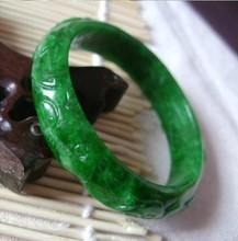 Natural Burma Shi Gan green green wave flower ruyi of carve patterns or designs on woodwork bracelet/appraisal certificate